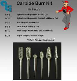 Carbide Burr Kit Black 6 pieces
