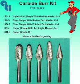Carbide Burr Kit Green 5 pieces